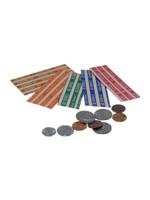 Flat Tubular Coin Wrappers, Half Size, $2.50 Dimes, Green